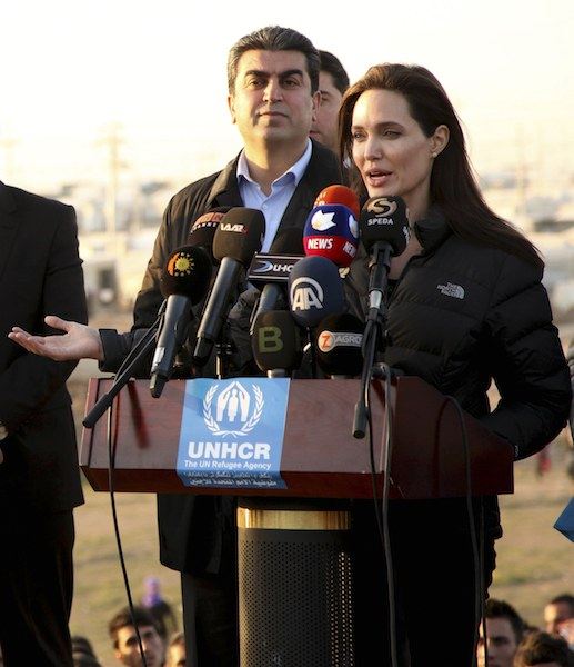 Actress and special envoy of the U.N. High Commissioner for Refugees Angelina Jolie gives a speech as she visits a Kurdish refugee camp in Dohuk, northern Iraq