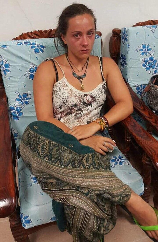 Eleanor Grace Hawkins who was arrested for posing topless up a mountain in Malaysia.  Pic of her waiting in the court in Malaysia - ID by journo in court.