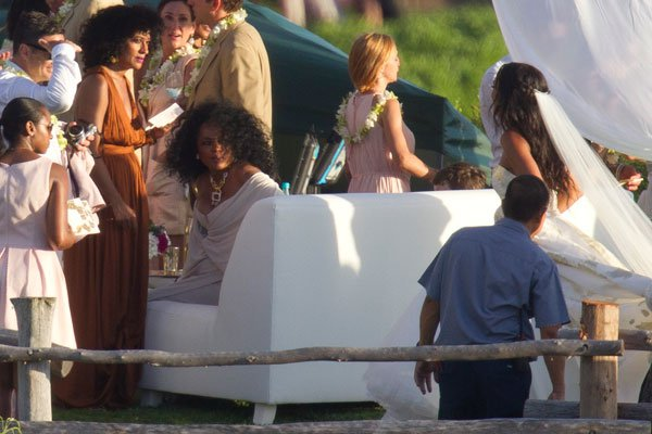 Diana Ross and her children in Maui for her daughter Chundney