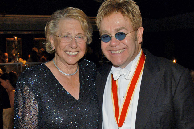 Sir Elton John and his mother Sylvia during The Fifth Annual White Tie & Tiara Ball to Benefit the Elton John Aids Foundation in Association with Chopard - Dinner at Elton John Residence in Windsor, England, United Kingdom. (Photo by KMazur/WireImage)
