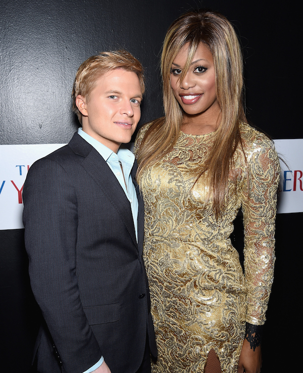WASHINGTON, DC - APRIL 24:  Ronan Farrow (L) and Laverne Cox attend The New Yorker's White House Correspondents' Dinner Weekend Pre-Party hosted by David Remnick at the W Hotel Rooftop on April 24, 2015 in Washington, DC.  (Photo by Dimitrios Kambouris/Getty Images for The New Yorker)