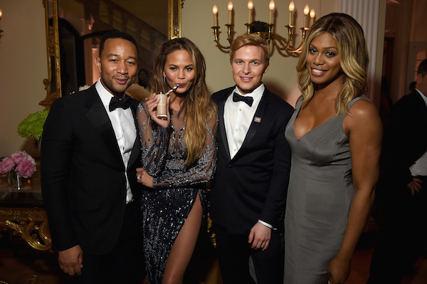 WASHINGTON, DC - APRIL 25:  (L-R) John Legend, Chrissy Teigen, Ronan Farrow, and Laverne Cox attend the Bloomberg & Vanity Fair cocktail reception following the 2015 WHCA Dinner at the residence of the French Ambassador on April 25, 2015 in Washington, DC.  (Photo by Dimitrios Kambouris/VF15/WireImage)