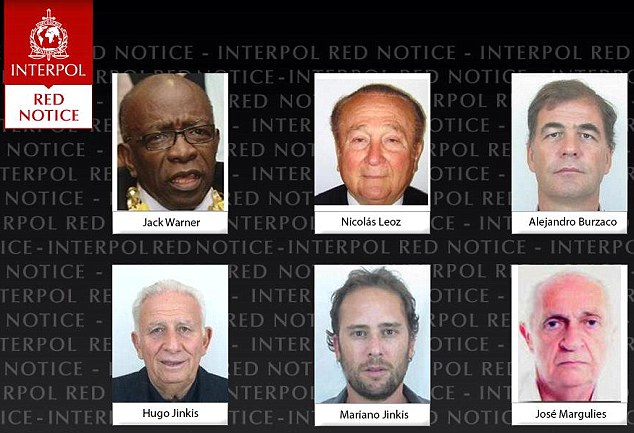 Rogues' gallery: Interpol has put six men linked to FIFA on its most wanted list, issuing international arrest warrants for two former FIFA officials and four executives on charges including racketeering and corruption