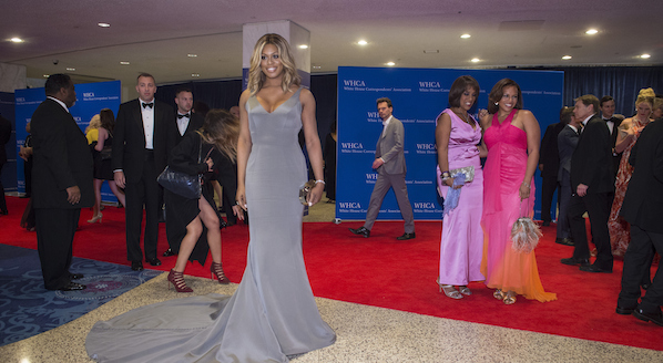 WASHINGTON, DC - APRIL 25: Laverne Cox, left, poses as people arrive on the red carpet for the 20015 White House Correspondents' Association annual inner at the Washington Hilton in Washington, DC on Saturday April 25, 2015. (Photo by Jabin Botsford/The Washington Post via Getty Images)