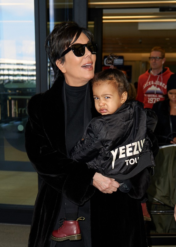 Kris Jenner and baby North West at Heathrow Airport