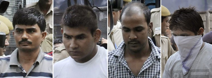 This combination of images created on September 24, 2013, shows convicted Indian prisoners (L/R): Akshay Thakur, Vinay Sharma, Mukesh Singh, Pawan Gupta as they arrive for an appearance at The High Court in New Delhi on September 24, 2013.  Four men condemned to death for the murder and gang-rape of an Indian student were brought back to court as their lawyers confirmed before judges that they would appeal the sentence. The convicts were produced before the High Court in New Delhi where a panel of two judges said they would take up the case from September 25, the lawyer for one of the men told AFP.   AFP PHOTO/STR        (Photo credit should read STRDEL/AFP/Getty Images)